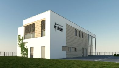 Wizualizacja z parking nowe przedszkole Józefosław